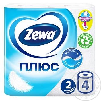 Туалетная бумага Zewa Плюс белый 2-х слойная 4шт