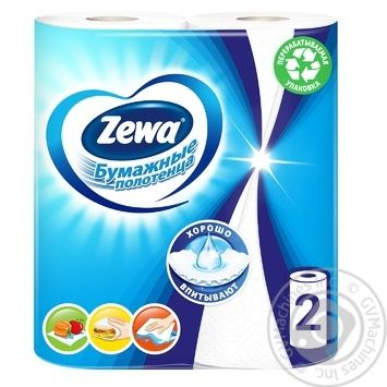 Полотенца бумажные Zewa белые 2-х слойные 2шт - купить, цены на МегаМаркет - фото 1