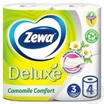 Zewa Deluxe Camomile Comfort 3-ply white toilet paper 4pcs