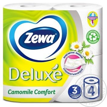 Папір туалетний Zewa Deluxe Camomile Comfort білий 3-х шаровий 4шт - купити, ціни на Ашан - фото 1