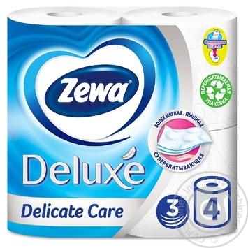 Туалетний папір Zewa Deluxe Delicate Care білий 3-х шаровий 4шт - купити, ціни на МегаМаркет - фото 1
