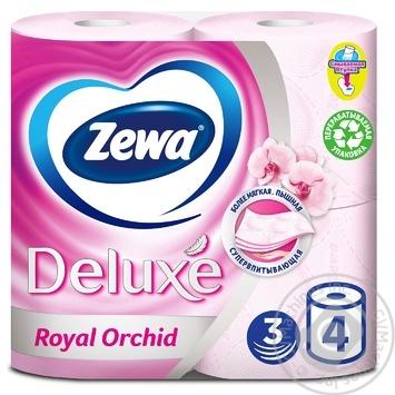 Туалетная бумага Zewa Deluxe Royal Orchid розовая 3-х слойная 4шт - купить, цены на МегаМаркет - фото 1