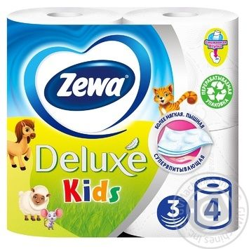 Zewa Kids white 3-ply toilet paper 4pcs