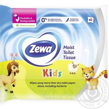 Туалетная бумага Zewa Kids влажная 42шт - купить, цены на Метро - фото 1