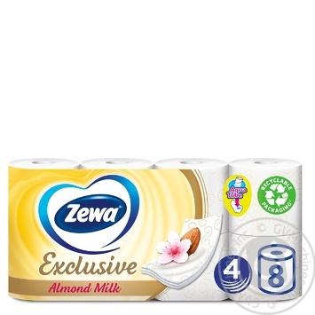 Туалетная бумага Zewa Exclusive Almond Milk белая 4-х слойная 8 рулонов - купить, цены на МегаМаркет - фото 1