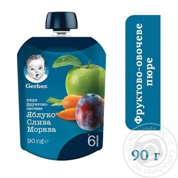 Пюре Gerber яблоко слива морковь 90г - купить, цены на Novus - фото 2