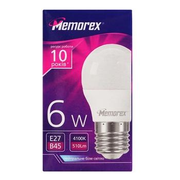 Лампа Memorex светодиодная G45 6W E27 4100K - купить, цены на Ашан - фото 1