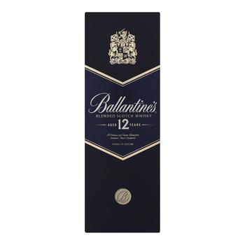 Віскі Ballantine's 12 років 40% 0,7л в подарунковiй упаковцi - купити, ціни на МегаМаркет - фото 1