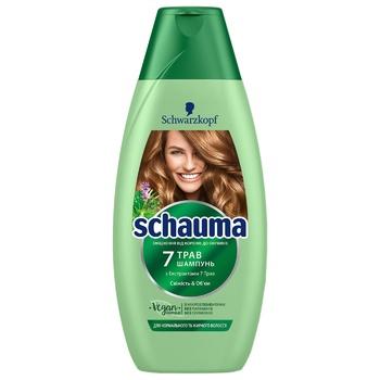 Шампунь Schwarzkopf Schauma 7 трав для нормальных и быстро жирнеющих волос 400мл - купить, цены на Novus - фото 1