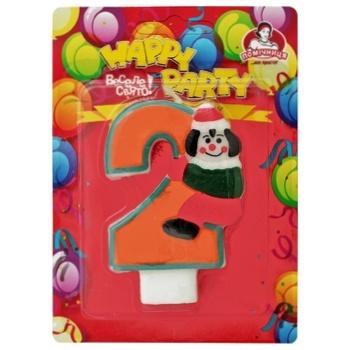 Свеча Помощница цифра 2 для торта 8см