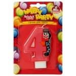 Свечи Помощница для торта цифра 4 с клоуном Р52-600