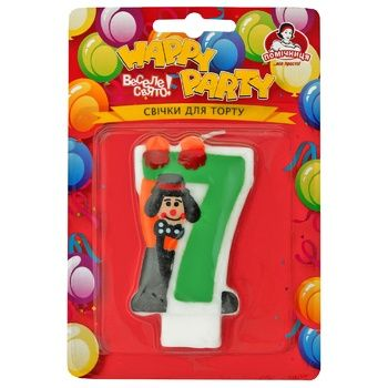 Свечи Помощница для торта цифра 7 с клоуном Р52-600