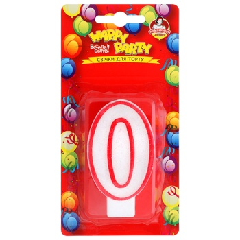 Pomichnica Happy Party Candle for cake Number Zero