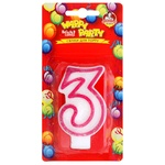 Pomichnica Happy Party Candle for cake Number Three