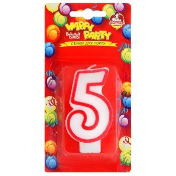Свічка для торту Помічниця Веселе свято Цифра п'ять - купити, ціни на Метро - фото 1