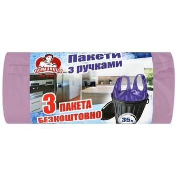 Пакеты для мусора Помічниця с ручками 35л 30шт