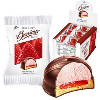 Десерт Conti Bonjour Клубника со сливками 29г - купить, цены на Восторг - фото 1