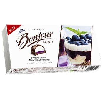 Десерт Konti Bonjour со вкусом черника-маскарпоне 232 г - купить, цены на Фуршет - фото 1