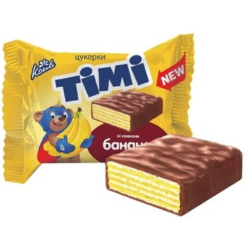 Konti Timi candies with banana flavor by weight