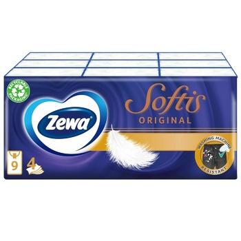 Платочки носовые Zewa Softis 4-х слойные 9шт