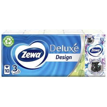Zewa Deluxe 3-ply paper handkerchiefs 10pcs