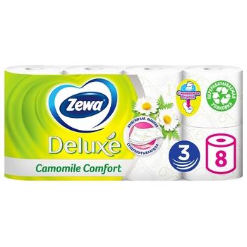 Папір туалетний Zewa Deluxe Ромашка білий тришаровий 8шт