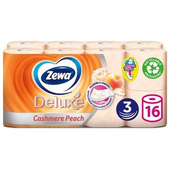 Туалетная бумага Zewa Deluxe Персик трехслойная 16шт - купить, цены на МегаМаркет - фото 1