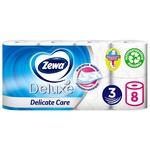 Туалетная бумага Zewa Deluxe Delicate Care белая 3-х слойная 8шт - купить, цены на Ашан - фото 3