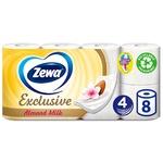 Туалетная бумага Zewa Exclusive Almond Milk белая 4-х слойная 8 рулонов