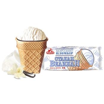 Морозиво Ласунка Стакан великан пломбір у вафельному стакані з кондитерською глазур'ю 85г