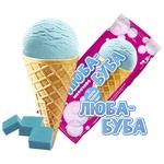 Морозиво пломбір Ласунка Люба-Буба зі смаком жувальної гумки у вафельному ріжку 70г - купить, цены на Восторг - фото 1