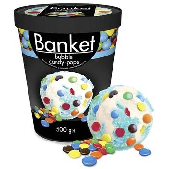 Мороженое Ласунка Banket Bubble Candy-Pops пломбир со вкусом жевательной резинки с драже 500г - купить, цены на СитиМаркет - фото 1