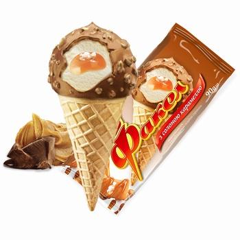 Мороженое Ласунка Факел с соленой карамелью 90г - купить, цены на Ашан - фото 1