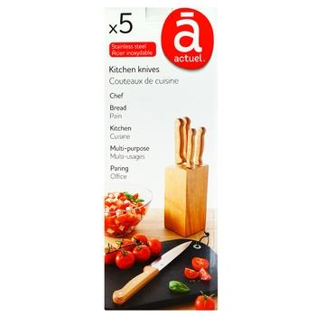 Набор ножей Actuel в колоде дерево - купить, цены на Ашан - фото 1