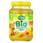 Ovko for children from 4 months with peach-banana-cereals puree 190g