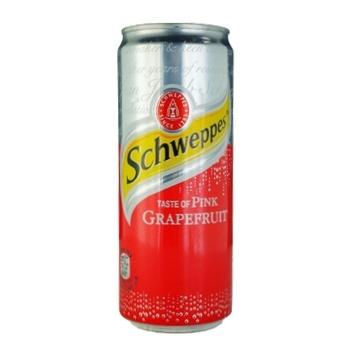 Напиток Schweppes Пинк Грейпфрут безалкогольный сильногазированный 330мл ж/б - купить, цены на Novus - фото 1