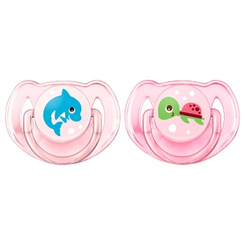 Avent Pacifier for Girls Dolphin+Turtle 6-18 months 2pcs - buy, prices for MegaMarket - image 1