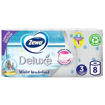 Туалетная бумага Zewa Deluxe Delicate Care белая 3-х слойная 8шт - купить, цены на Ашан - фото 1