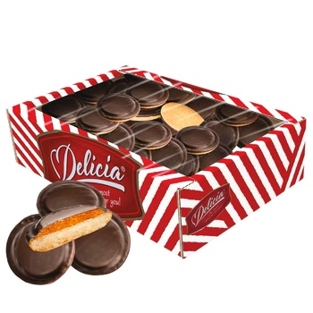 Delicia Cookies in Dark Chocolate with Orange Flavor 500g