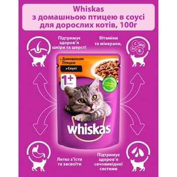 Whiskas Feed for Adult Cats with Poultry in Sauce 100g - buy, prices for CityMarket - photo 3