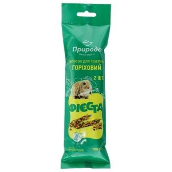 Колосок Природа Фиеста ореховый для грызунов 2шт 100г - купить, цены на Ашан - фото 1
