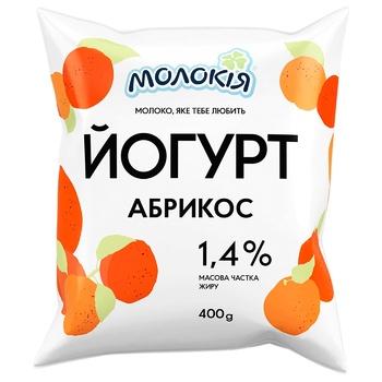 Йогурт Молокія Абрикос 1.4% 400г - купить, цены на Ашан - фото 1