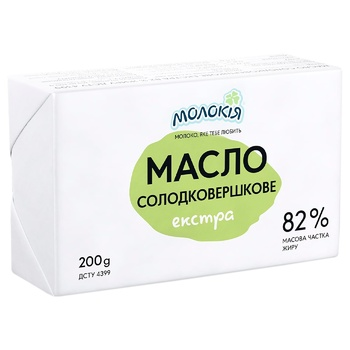Масло Молокія Экстра сладкосливочное 82% 200г