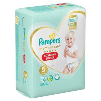 Подгузники-трусики Pampers Premium Care Pants размер 5 Junior 12-17кг 20шт - купить, цены на Ашан - фото 6