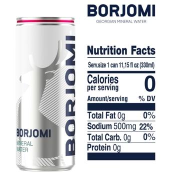 Вода Borjomi минеральная лечебно-столовая сильногазированная ж/б 12*0,33л - купить, цены на Метро - фото 3