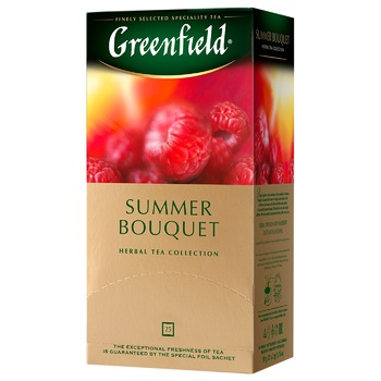 Чай травяной Greenfield Summer Bouquet со вкусом малины в пакетиках 2г x 25шт - купить, цены на СитиМаркет - фото 3