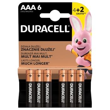 Батарейки Duracell Basic LR3 AAA 6шт - купити, ціни на Ашан - фото 1