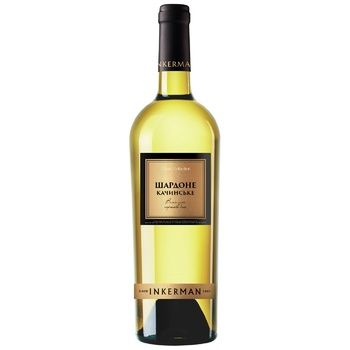 Вино Inkerman Шардоне Качинское белое сухое 10-14% 0,75л - купить, цены на СитиМаркет - фото 1