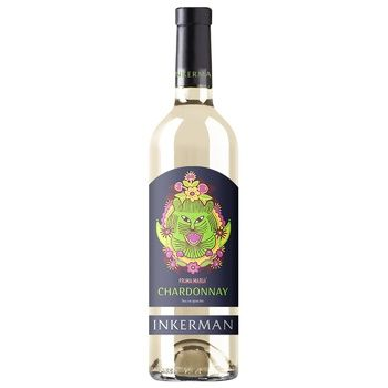 Вино Inkerman Chardonnay белое сухое 10-14% 0,75л - купить, цены на Novus - фото 1