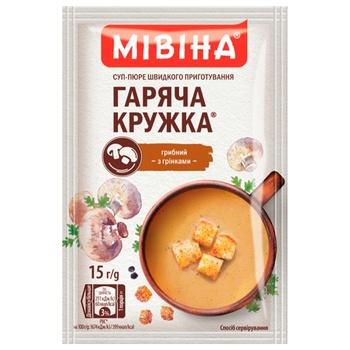 Суп-пюре МИВИНА® Горячая Кружка Грибной с гренками 15г - купить, цены на Ашан - фото 1